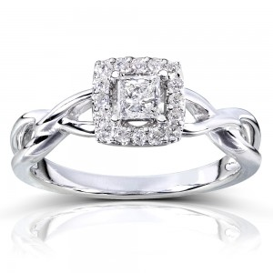 Gold 1/3ct TDW Diamond Halo Engagement Ring - Custom Made By Yaffie™
