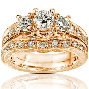 Gold 1ct Round Brilliant Diamond Bridal Set - Custom Made By Yaffie™