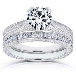 Gold 1ct Round Forever One Moissanite and 1/3ct TDW Diamond Cathedral Bridal Set - Custom Made By Yaffie™