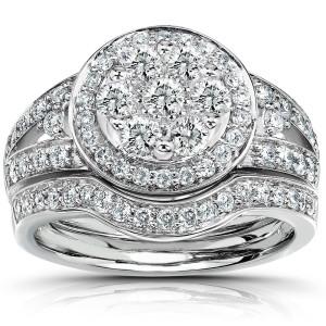Gold 1ct TDW Diamond Bridal Halo Ring Set - Custom Made By Yaffie™