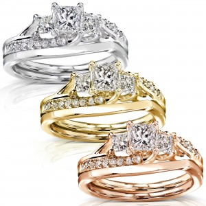 Gold 1ct TDW Diamond Bridal Rings Set - Custom Made By Yaffie™