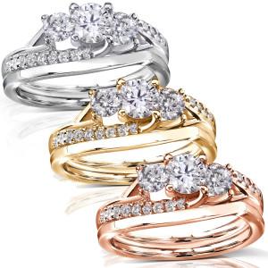 Gold 1ct TDW Diamond Engagement Bridal Rings Set - Custom Made By Yaffie™