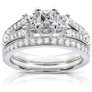 Gold 1ct TDW Princess-cut Diamond Bridal Set - Custom Made By Yaffie™