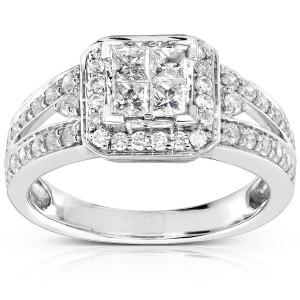 Gold 1ct TDW Quad Princess Halo Diamond Engagement Ring - Custom Made By Yaffie™