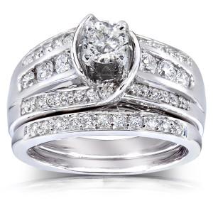 Gold 1ct TDW Round Diamond 2-piece Bridal Set - Custom Made By Yaffie™