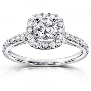 Gold 3/4 ct TDW Diamond Halo Engagement Ring - Custom Made By Yaffie™