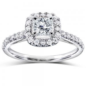 Gold 3/4ct TDW Princess and Round Halo Diamond Engagement Ring - Custom Made By Yaffie™