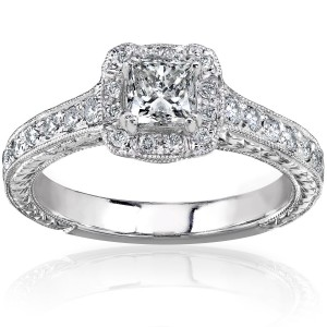 Gold 3/4ct TDW Princess-cut Diamond Halo Engagement Ring - Custom Made By Yaffie™