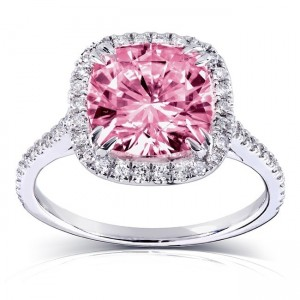 Gold 3ct TGW Pink Cushion-cut Moissanite and Diamond Halo Engagement Ring - Custom Made By Yaffie™