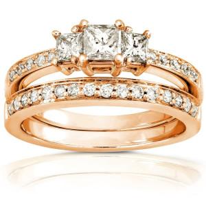 Gold 5/8ct TDW Princess Diamond Bridal Set - Custom Made By Yaffie™