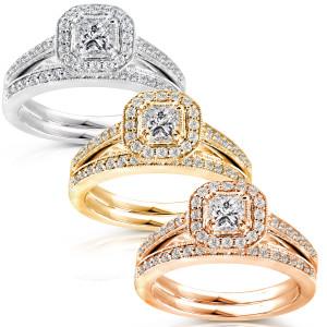 Gold 5/8ct TDW Princess Diamond Halo Bridal Ring Set - Custom Made By Yaffie™