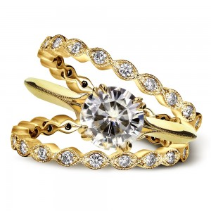 Gold Forever One Moissanite and 3/4ct TDW Diamond Blooming Flower 3-Piece Bri - Custom Made By Yaffie™