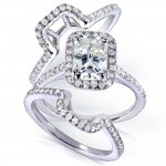 Gold Radiant Forever Brilliant Moissanite Center and 5/8ct TDW Halo Round Dia - Custom Made By Yaffie™