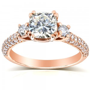 Rose Gold 1 1/2ct TGW Forever One DEF Cushion Moissanite and Diamond 3 Stone Micro Pave Engagement Ring - Custom Made By Yaffie™