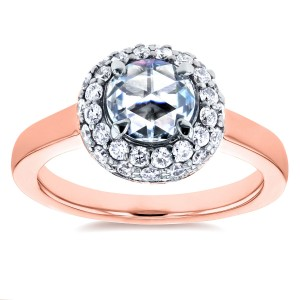 Rose Gold 1 2/5ct TDW Round Rose Cut Diamond Bead Prong Cluster Engagement Ring - Custom Made By Yaffie™