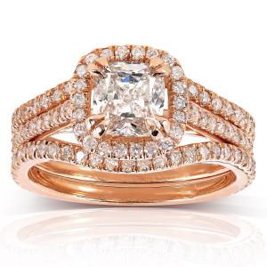Rose Gold 1 3/4ct TDW Cushion-cut Diamond 3-piece Bridal Set - Custom Made By Yaffie™