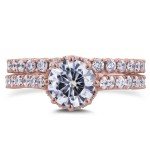 Rose Gold 2 1/10ct TCW Round Moissanite and Diamond 8-Prong Standing Halo Bridal Rings - Custom Made By Yaffie™