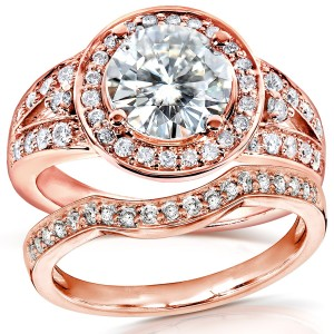 Rose Gold 2ct TCW Round Moissanite and Diamond Halo Bridal Ring 2-Piece Set - Custom Made By Yaffie™