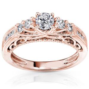 Rose Gold 3/4ct TDW Round Brilliant Diamond Ring - Custom Made By Yaffie™