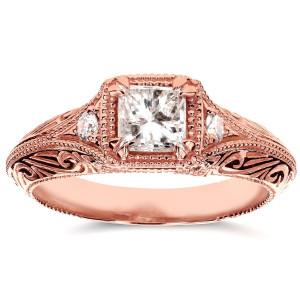 Rose Gold 5/8ct TDW Diamond Antique Filigree Engagement Ring - Custom Made By Yaffie™