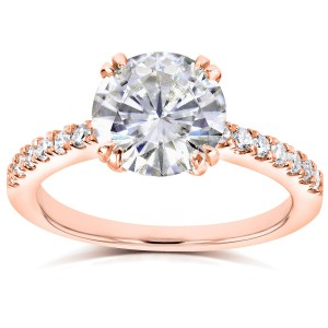 Rose Gold Round Moissanite and 1/5ct TDW Diamond Engagement Ring - Custom Made By Yaffie™