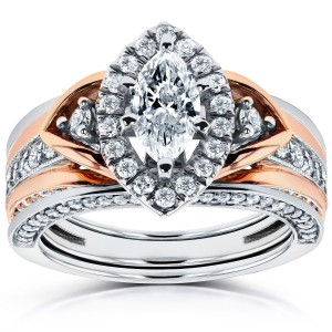 Two-Tone Gold 1 1/4ct TDW Marquise Diamond 3-Piece Bridal Set - Custom Made By Yaffie™
