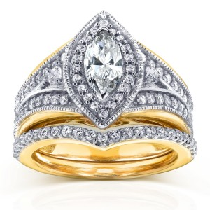 Two-Tone Gold 1 1/6ct TDW Marquise Diamond Bridal Set - Custom Made By Yaffie™