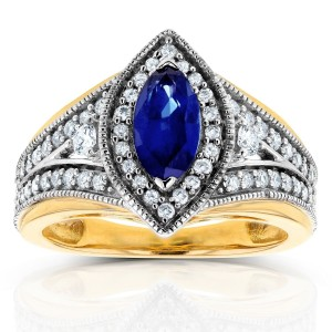 Two Tone Gold Marquise Blue Sapphire and 1/2ct TDW Diamond Art Deco Chevron R - Custom Made By Yaffie™