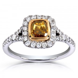 Two-tone Gold 1 2/5ct TDW Certified Cushion-cut Champagne Diamond Halo Ring - Custom Made By Yaffie™