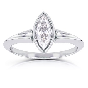 White Gold 1 1/10ct Marquise Diamond Bezel Solitaire Ring - Custom Made By Yaffie™