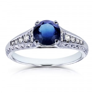 White Gold 1 1/10ct TGW Sapphire and Diamond Vintage Engagement Ring - Custom Made By Yaffie™
