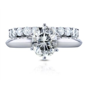 White Gold 1 1/2ct Oval Moissanite Solitaire and 1ct TDW Prong Diamond Band Bridal Set - Custom Made By Yaffie™