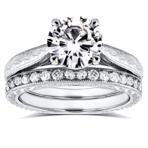 White Gold 1 1/2ct Round Moissanite and 1/3ct TDW Diamond Antique Cathedral Bridal Set - Custom Made By Yaffie™