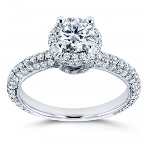 White Gold 1 1/2ct TDW Diamond Halo Engagement Ring - Custom Made By Yaffie™