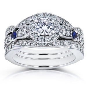 White Gold 1 1/3ct TCW Moissanite with Sapphire and Diamond Antique 3 Ring Bridal Set - Custom Made By Yaffie™