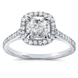 White Gold 1 1/3ct TDW Cushion-cut Diamond Halo Engagement Ring - Custom Made By Yaffie™