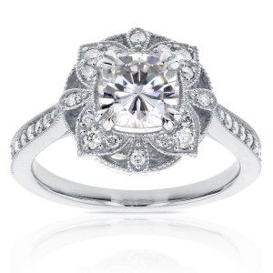 White Gold 1 1/3ct TGW Cushion Moissanite and Diamond Floral Antique Ring - Custom Made By Yaffie™