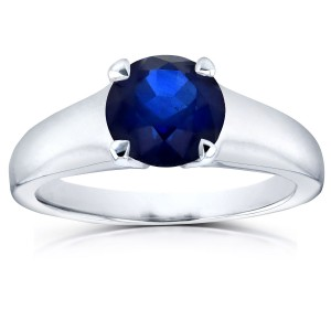 White Gold 1 1/4ct Round Blue Sapphire Solitaire Ring - Custom Made By Yaffie™