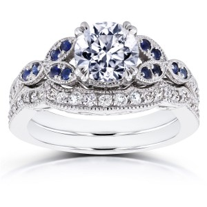 White Gold 1 1/4ct TDW Diamond and Blue Sapphire Vintage Floral Bridal Set - Custom Made By Yaffie™