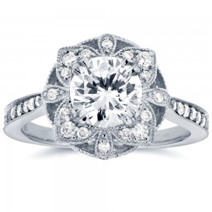 White Gold 1 1/4ct TGW Round Moissanite and Diamond Vintage Floral Engagement Ring - Custom Made By Yaffie™