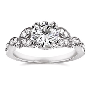 White Gold 1 1/5ct TDW Diamond Floral Antique Engagement Ring - Custom Made By Yaffie™