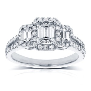 White Gold 1 1/5ct TDW Three Stone Emerald Diamond and Halo Engagement Ring - Custom Made By Yaffie™