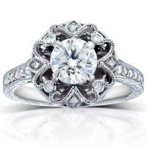 White Gold 1 1/5ct TGW Forever One DEF Moissanite and Diamond Antique Floral Extravagant Engagement Ring - Custom Made By Yaffie™