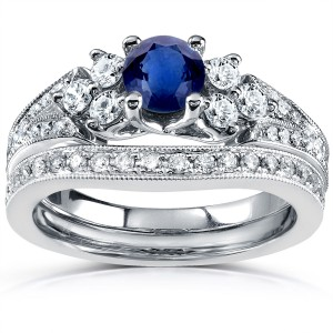 White Gold 1 1/6ct TCW Blue Sapphire and Diamond Vintage Bridal Set - Custom Made By Yaffie™