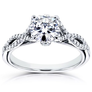 White Gold 1 1/6ct TCW Forever Brilliant Moissanite and Diamond Crossover Engagement Ring - Custom Made By Yaffie™