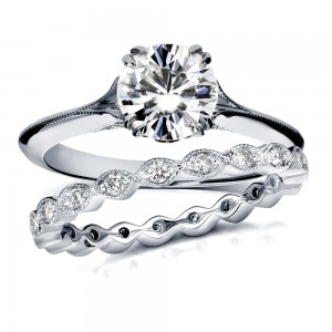 White Gold 1 2/5ct TGW Moissanite and Diamond Floral Vintage 2-Piece Bridal Rings Set - Custom Made By Yaffie™
