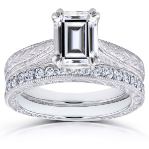 White Gold 1 3/4ct Emerald Moissanite and 1/3ct TDW Diamond Antique Cathedral Bridal Set - Custom Made By Yaffie™