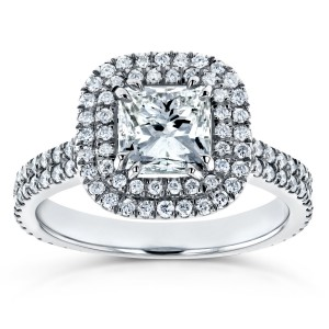 White Gold 1 3/4ct TDW Diamond Double Halo Engagement Ring - Custom Made By Yaffie™