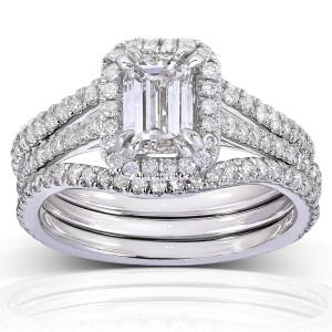 White Gold 1 3/4ct TDW Emerald-cut Halo Diamond 3-piece Bridal Set - Custom Made By Yaffie™