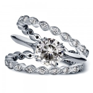White Gold 1 3/4ct TGW Forever Brilliant Moissanite and Diamond Vintage Flower Bridal Rings - Custom Made By Yaffie™